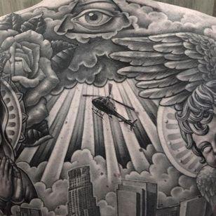 Epic backpiece by @chueyquintanar #chueyquintanar #blackandgrey #realism