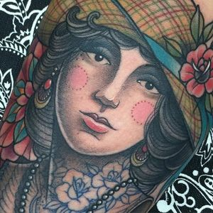 A gorgeous neo-traditional lady head by Gian Karle Cruz (IG—giankarle). #GianKarleCruz #InkMaster #ladyhead #neotraditional
