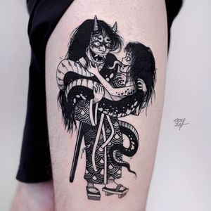 Yokai love tattoo by Ooqza #Ooqza #yokaitattoos #blackandgrey #manga #anime #love #kimono #Japanese #yokai #ghost #demon #spirit #folklore #legend #spooky #possessed #creature #surreal #weird