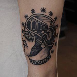 Mind landscape tattoo by Or Kantor #OrKantor #landscapetattoo #blackandgrey #portrait #head #stars #surreal #eye #pattern #architecture #plant #pot #brain #creative #tattoooftheday