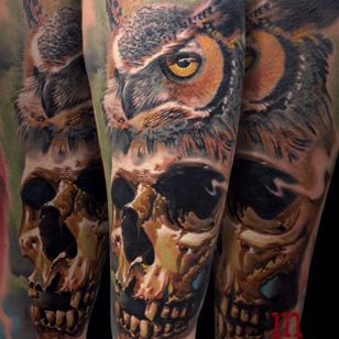 Rad looking skull and owl tattoo done by Martin Kukol. #MartinKukol #realistic #mARTink #owl #skull