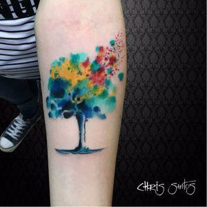 Colorida! #ChrisSantos #arvores #trees #folhas #leafs #TatuadoresDoBrasil #aquarela #watercolor #colorida #colorful