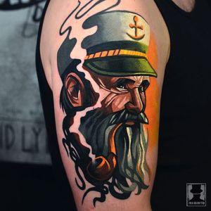 O Captain My Captain! Tattoo by Tomek Kołucki #TomekKołucki #sailortattoos #color #newschool #newtraditional #sailor #seacaptain #captain #anchor #hat #beard #pipe #oldman #seafarer #smoke #graphicart