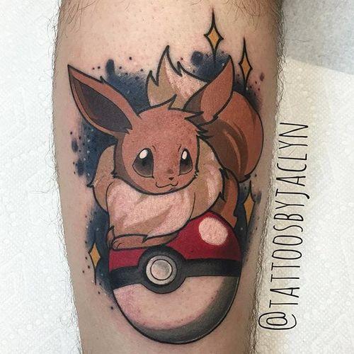 Eeevee tattoo by Jaclyn Huertas. #pokemon #eevee #cute #critter #anime #videogames #kawaii #JaclynHuertas