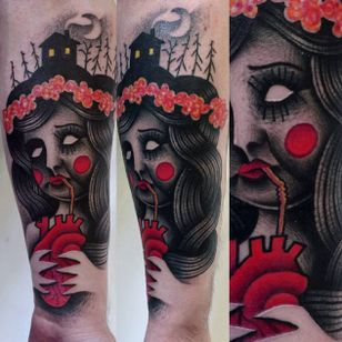Black and red semi-abstract tattoo by Łukasz Sokołowski. #LukaszSokolowski #semiabstract #blackandred #abstract #graphic #conceptual #lady
