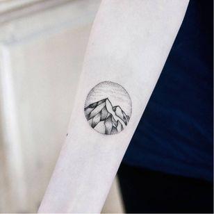Mountain tattoo #UlsMetzger #monochrome #dotwork #blackwork #mountain
