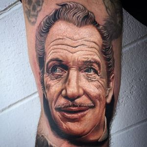Vincent Price Tattoo by Tony Sklepic #VincentPrice #VincentPriceTattoos #ActorTattoos #HollywoodTattoos #ClassicActor #TonySklepic #actorportrait #hollywood #portrait