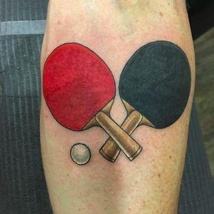Paddles and ball by Jesse Kube (via IG -- jessetat2) #JesseKube #pingpong #pingpongtattoo #tabletennis #tabletennistattoo
