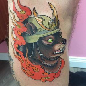 Tattoo by Wendy Pham #WendyPham #TaikoGallery #WenRamen #newtraditional #color #Japanese #mashup #bear #animal #samurai #helmet #fire