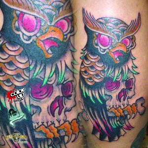 #coruja #owl #caveira #skull #JonathanPereira #JohnnyTattoo #tradicional #tradicionalamericano #oldschool #TatuadoresDoBrasil #brasil