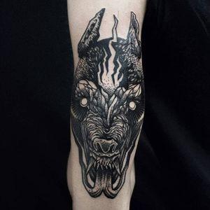 Wolf Tattoo by Mishla #wolf #blackwork #blackworkartist #illustrative #blackillustrative #darkart #darkartist #Mishla