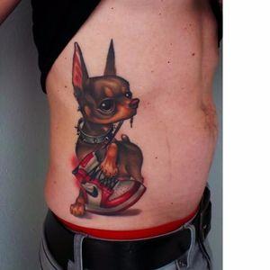 Sweet dog tattoo by Steven Compton #StevenCompton #newschool #dog #sneaker