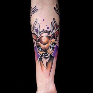 Cartoon deer tattoo by Mirco Campioni #MircoCampioni #graphic #deer #cartoon