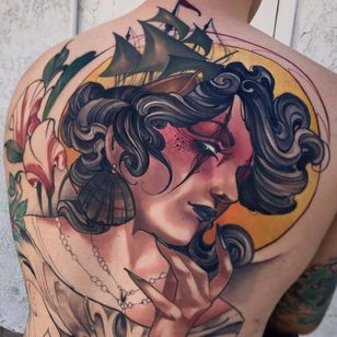 Sea Witch Portrait by Matt Tischler #MattTischler #color #neotraditional #lady #portrait #witch #flowers #oceanlife #jewelry #pearls #ship #boat #sails #leaves #nature #backpiece #sun #hand #tattoooftheday