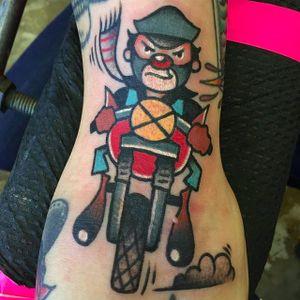 Biker Clown Tattoo by Pancho #PanchosPlacas #Oldschool #Traditional #Clowntattoo #Bikertattoo #biker #clown #bikerclown