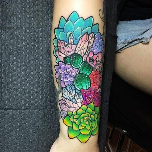 Vibrant succulents tattoo by Kaitlin Dutoit #KaitlinDutoit #succulent #plant #botany #crystals (Photo: Instagram)