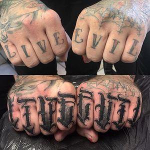 'Live, Evil' Tattoo by Vince Le #lettering #script #darklettering #letteringartist #darkartist #VinceLe