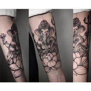 Ganesh tattoo by Lesya Kovalchuk. #LesyaKovalchuk #blackwork #ganesh #history #hindu #elephant #religious