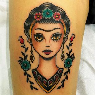Beautiful Frida Kahlo tattoo by Giuseppe Messina #Gypsy #Girl #GiuseppeMessina #FridaKahlo