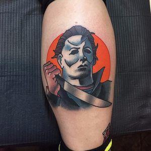 Michael Myers Tattoo by Marty McEwen #michaelmyers #michaelmyerstattoo #halloween #halloweenatattoo #horror #horrortattoo #MartyMcEwen
