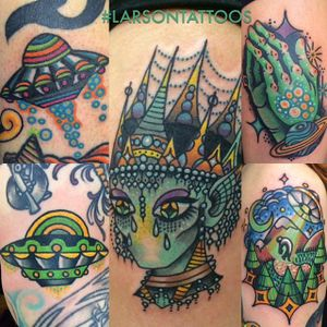 Tattoos of Aliens and UFOs by Jon Larson @LarsonTattoos111 #JonLarson #LarsonTattoos #Neotraditional #Bright_and_Bold #Alien #UFO #Extraterrestrial