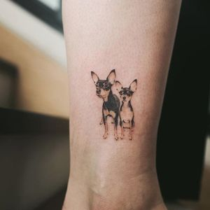 Pupper friends by Sol #SolTattoo #micro #color #dog #tattoooftheday