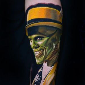 The Mask tattoo by Nikko Hurtado #NikkoHurtado #themask #jimcarrey #movie #portrait