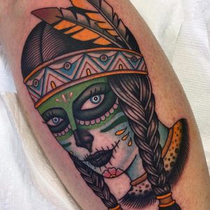 Mashup by Shaun Topper #ShaunTopper #color #traditional #ladyhead #portrait #nativeamerican #diadelosmuertos #sugarskull #skull #Mexico #culture #feathers #tattoooftheday