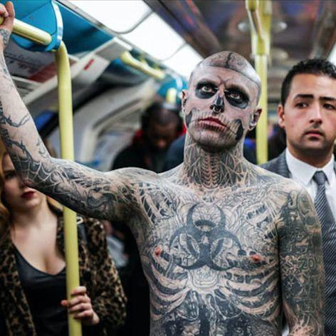 Photo by Casey Gutteridge of Zombie Boy commuting to a long day at work. #heavilytattooed #model #photography #RickGenest #ZombieBoy