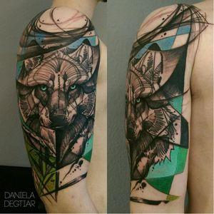 Wolf tattoo by Daniela Degtiar #DanielaDegtiar #graphic #sketchstyle #abstract #watercolor #wolf