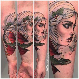 Daenerys tattoo #JessicaAnnWhite #gameofthrones #daenerystargaryen #dragon #neotraditional #illustrative