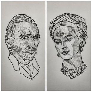 Vincent Van Gogh. (via IG - daniel_kickflip_tattooer) #Portraits #Celebrities #Flash #VanGogh