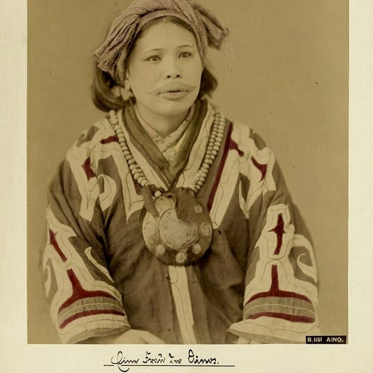 Ainu Woman circa 1870 #Japanese #Tattooed #Ainu #Woman #Ainuwoman #Japan #tradition