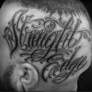 This tattoo most definitely did not lead to drug use, Mr. Fleming. Amazing script by Chris Stuart (Via IG - chrisxempire) #straightedge #politics #script