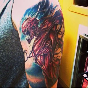 Carnage Tattoo, unknown artist #Carnage #CarnageTattoos #SpiderManTattoo #SpiderManTattoos #SpiderMan #MarvelTattoos #ComicTattoos #ComicBook #SuperVillains