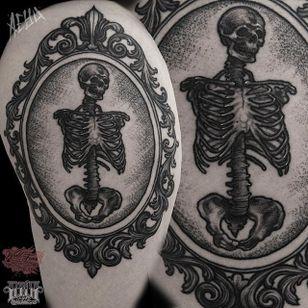 Framed Skeleton Tattoo by Alex Underwood #skeleton #skeletontattoo #blackworkskeleton #blackwork #blackworktattoo #blackworktattoos #blacktattoos #blackink #blackworkartists #AlexUnderwood