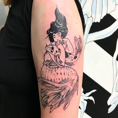 Mermaid tattoo by Tina Lugo #TinaLugo #linework #dotwork #mermaid #koi #fish #oceanlife #nature #lady