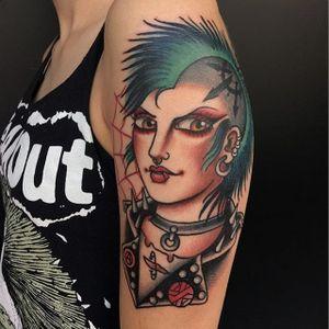 Traditional punk by Moira Ramone #MoiraRamone #color #traditional #punk #web #tattoooftheday