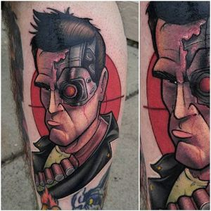 Terminator Tattoo by Thom Bulman #terminator #terminatortattoo #newschool #popculture #popculturetattoos #newschoolpopculture #boldtattoos #popcultureartist #ThomBulman