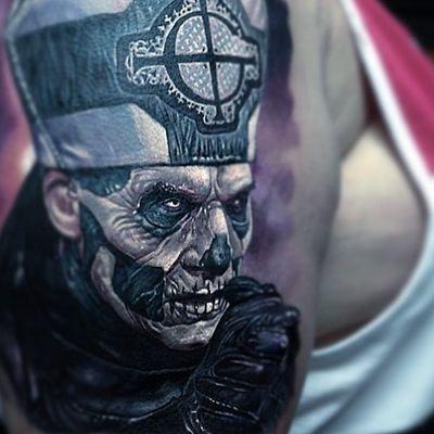 Evil priest tattoo by Paul Acker #PaulAcker #darkarttattoos #blackandgrey #realism #realistic #hyperrealism #priest #church #catholic #skull #death #evil #dark #cross #symbol #leather #corpsepaint #portrait #tattoooftheday