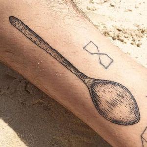 Wooden spoon by Maggie Cho Brophy. #blackwork #linework #MaggieChoBrophy #spoon #wooden #utensil #fineline