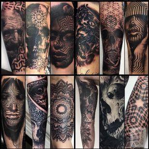 Tattoos by Joz #Joz #MarkJoslin #mandala #blackwork #blackandgrey (Photo: Instagram @joz100)
