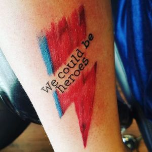 We could be heroes, inside the Bowie lightning. (via IG—lostinthenorth1) #Bowie #DavidBowie #WeCouldBeHeroes #Heroes #PlayItAgain #lyricstattoo