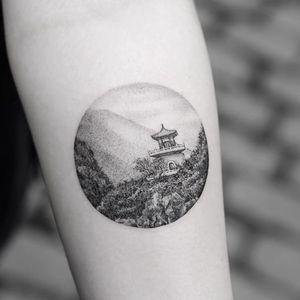 Fine line tattoo by Sanghyuk Ko. #SanghyukKo #bangbangnyc #newyork #fineline #singleneedle #landscape