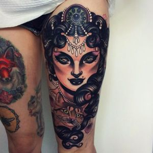Another girl tattoo by Emily Rose with stunning detail. #emilyrosemurray #neotraditional