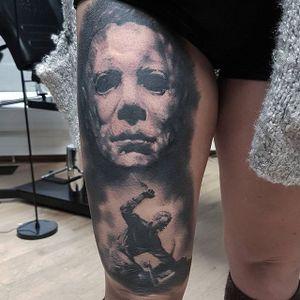 Michael Myers Tattoo by Dagur Gunnars #michaelmyers #michaelmyerstattoo #halloween #halloweenatattoo #horror #horrortattoo #DagurGunnars
