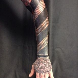 Flat blacks and linework tattoo by Curly Moore #curlytattoo #linework #freehand #blastover #curlymoore