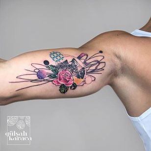Conceptual mountain tattoo by Gülşah Karaca. #GulsahKaraca #illustrative #graphic #technicolor #trippy #geometric #mountain #rose