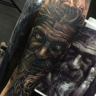 Stunning portrait of a bearded man, check out the crazy detail work on the facial hair. Tattoo done by Fredy Tomas. #FredyTomas #ExoticTattoo #realistictattoo #beardedman