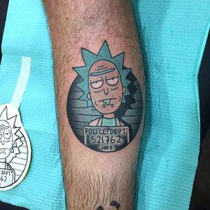 Rick Sanchez's mugshot tattoo by Chelcie Dagger #RickAndMorty #RickSanchez #mugshot #cartoon #ChelcieDagger